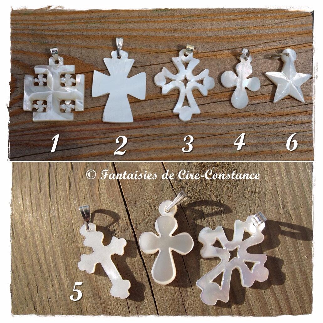 breloques Croix nacre étoile Jérusalem