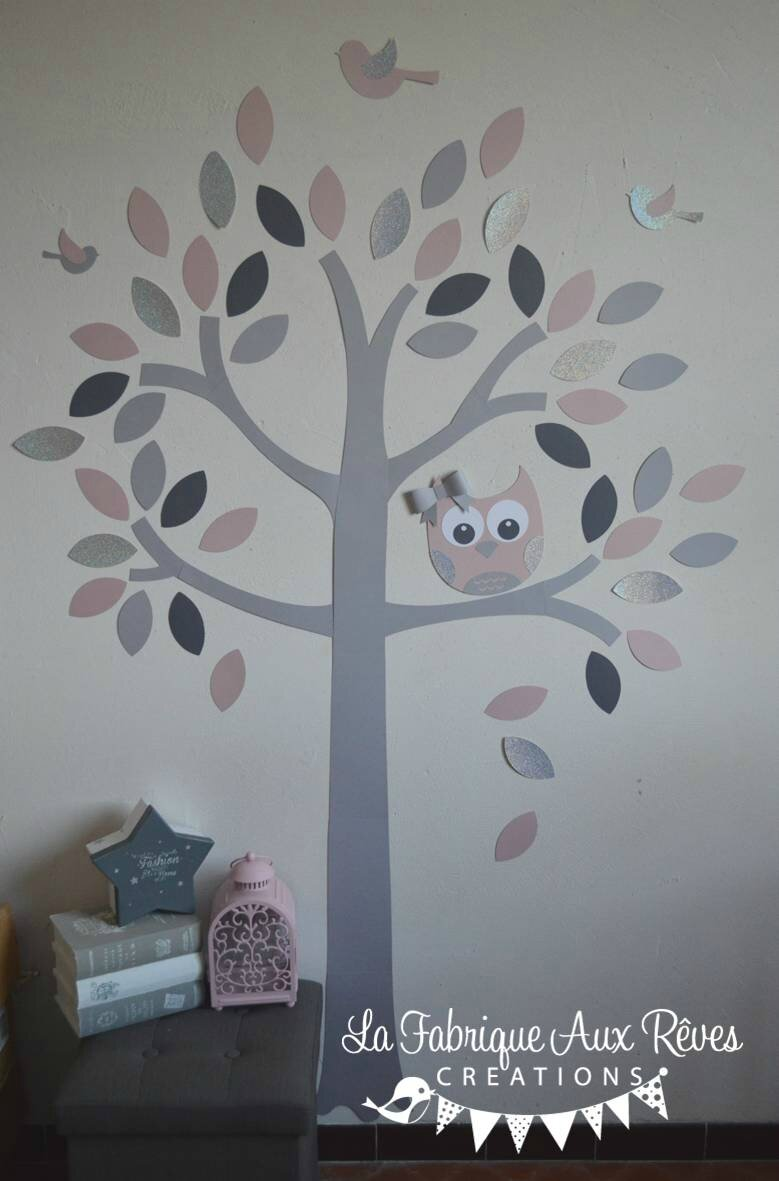 Stickers arbre rose poudr rose argent gris fonc gris for Decoration chambre hibou