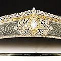Tiara of rock crystal panels engraved with arabesques by cartier in february 1912 for baron pierre de gunsburg