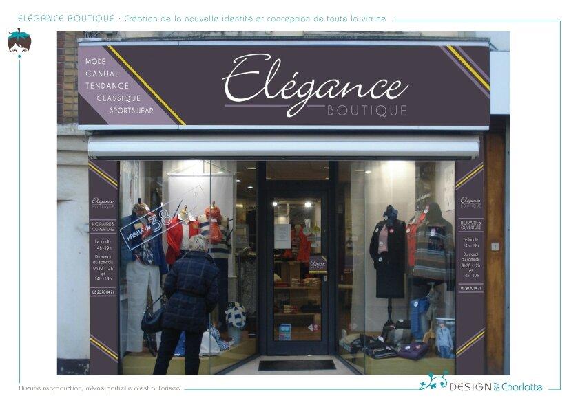 elegance boutique conception de la nouvelle vitrine design by charlotte graphiste. Black Bedroom Furniture Sets. Home Design Ideas