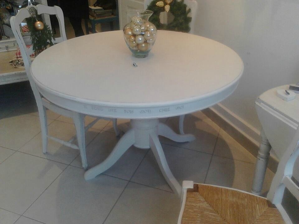 Table ronde patinee style shabby console patinee taupe - Petite table ronde blanche ...