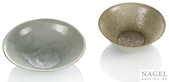 A moulded Dingyao deep bowl and a Yingqing bowl, China, Song dynasty