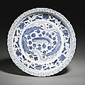 A blue and white 'fish' dish, yuan dynasty