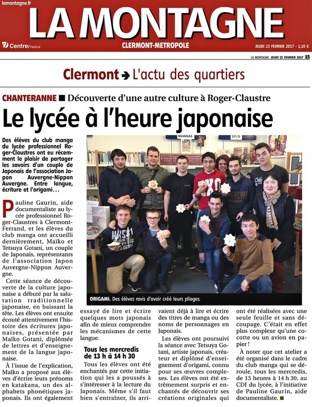 S-article de journal La Montagne Lycee RC 23022017