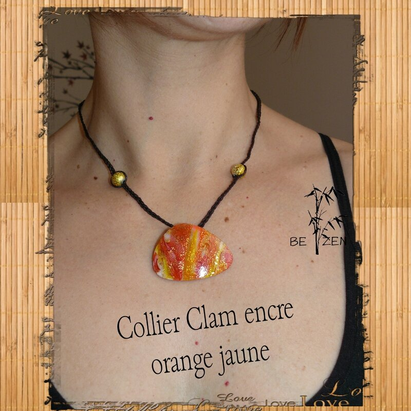 Collier clam encre orange jaune