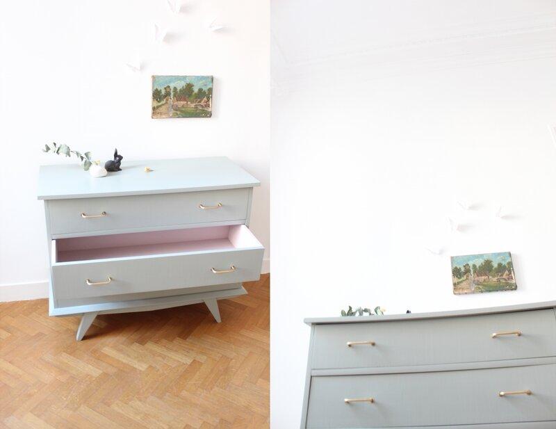 commode vintage pieds compas gris pigeon mobilier enfant TRENDY LITTLE 6