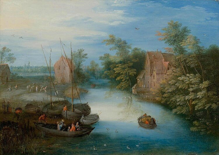 Jan Brueghel the Younger (1601 Antwerp 1678), A river landscape with boats and figures