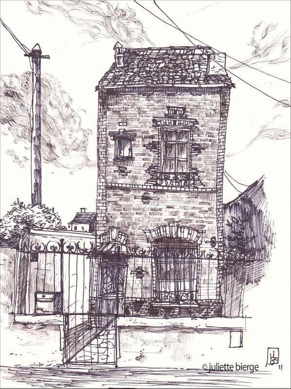 Maison en briques mon baz 39 art prenez un crayon emile for Croquis d une maison