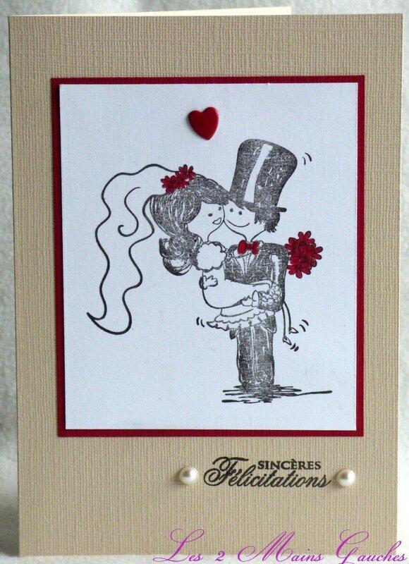 Un adorable couple de mari s du tulle du rouge ou du corail 2 cartes de - Felicitations mariage originale ...