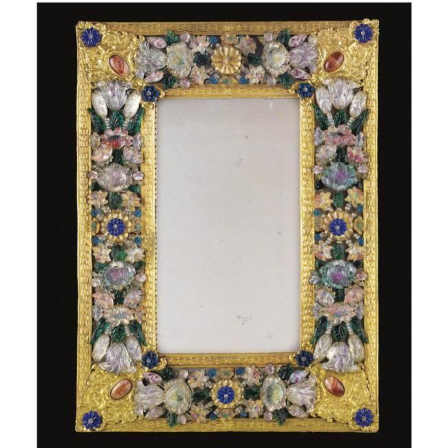 Beau miroir en p te de verre de murano et cuivre dor for Miroir venitien rectangulaire