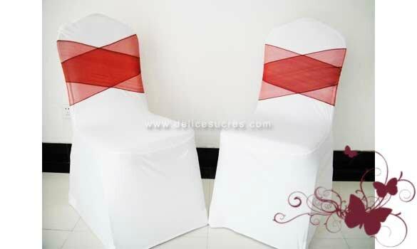 ruban noeud pour housse de chaise de mariage tissu organza couleur bordeaux 18x275 cm. Black Bedroom Furniture Sets. Home Design Ideas