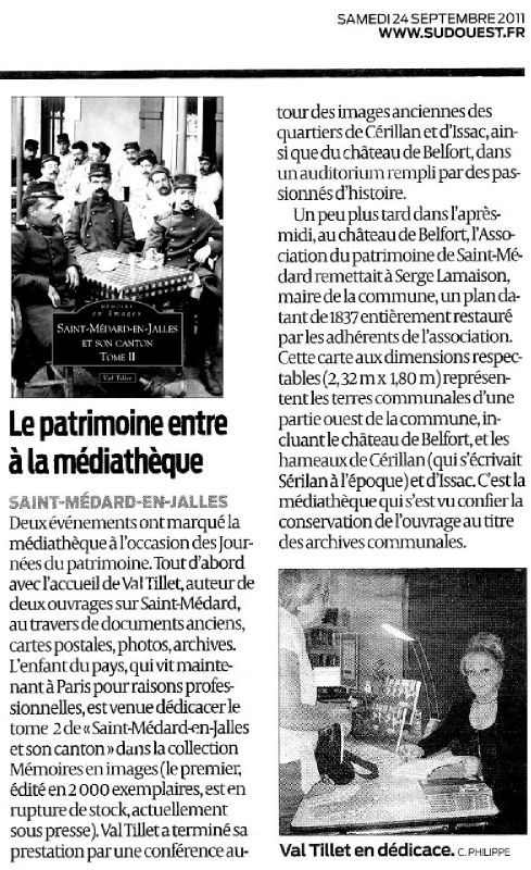 article paru dans le journal sud ouest du 24 septembre. Black Bedroom Furniture Sets. Home Design Ideas