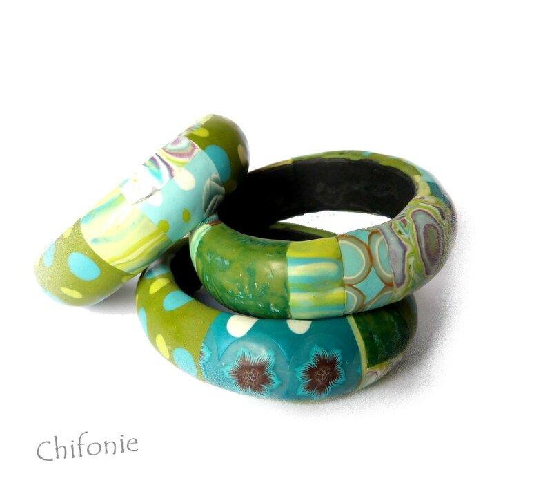 bracelets patchwork vert bleu_2