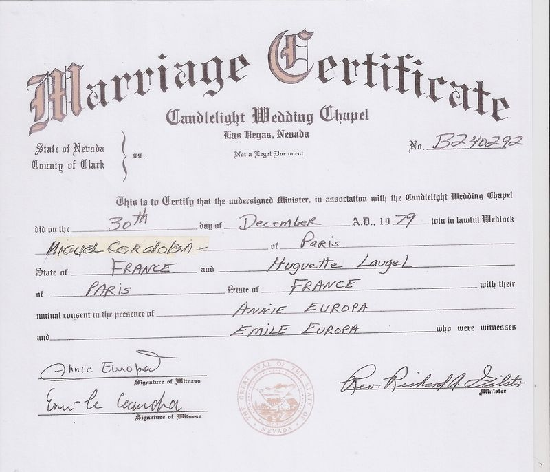 vegas miguel huguette mariage 1979 marriage certificate canalblog
