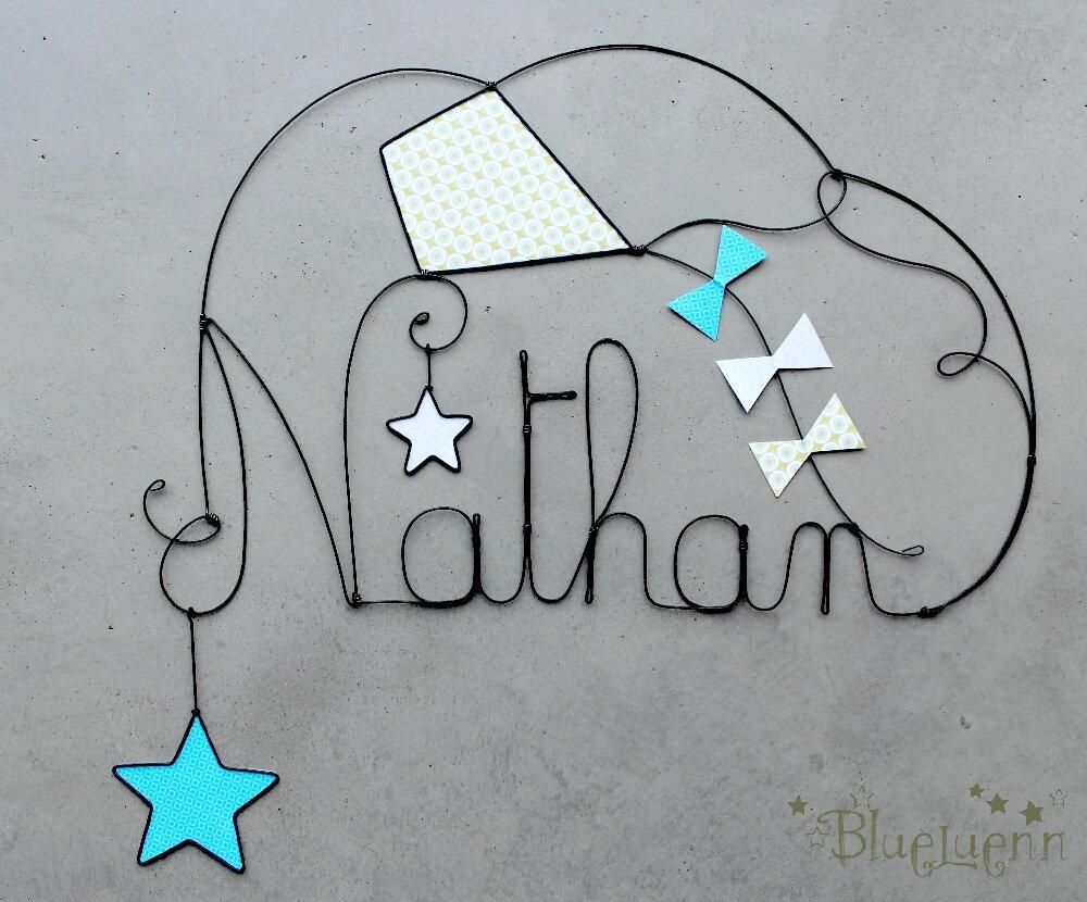 nathan photo de cr ations pr noms en fil de fer blueluenn. Black Bedroom Furniture Sets. Home Design Ideas