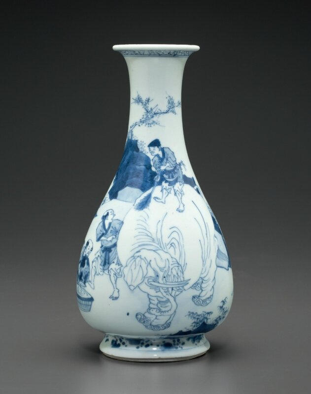A blue and white 'Washing the elephant' vase, early Kangxi period, circa 1670