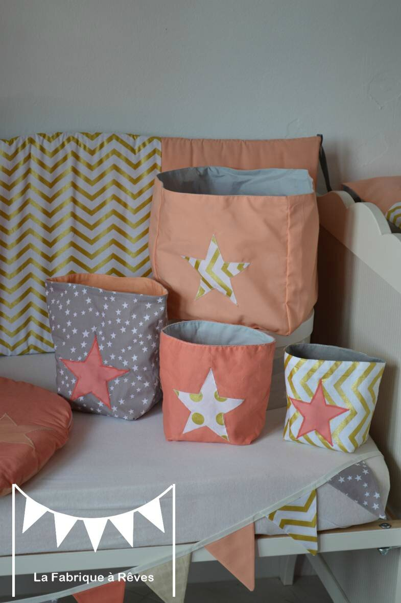 pochons rangement r versibles abricot corail dor gris toiles chevron pois d coration chambre. Black Bedroom Furniture Sets. Home Design Ideas