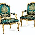 Paire de fauteuils  dossier plat en bois sculpt et redor d'poque louis xv, estampille i. desestre - sotheby's