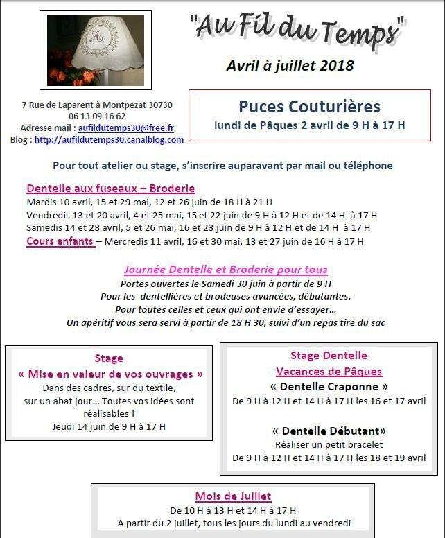 Ateliers d'avril à juillet 2018