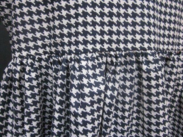 Robe Raymonde en coton imprimé pied de poule marine - Taille M-L (5)