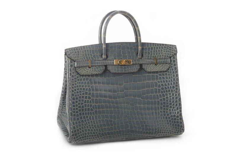 Hermès, Sac Birkin 40 cm en crocodile porosus (crocodylus porosus) bleu Jean