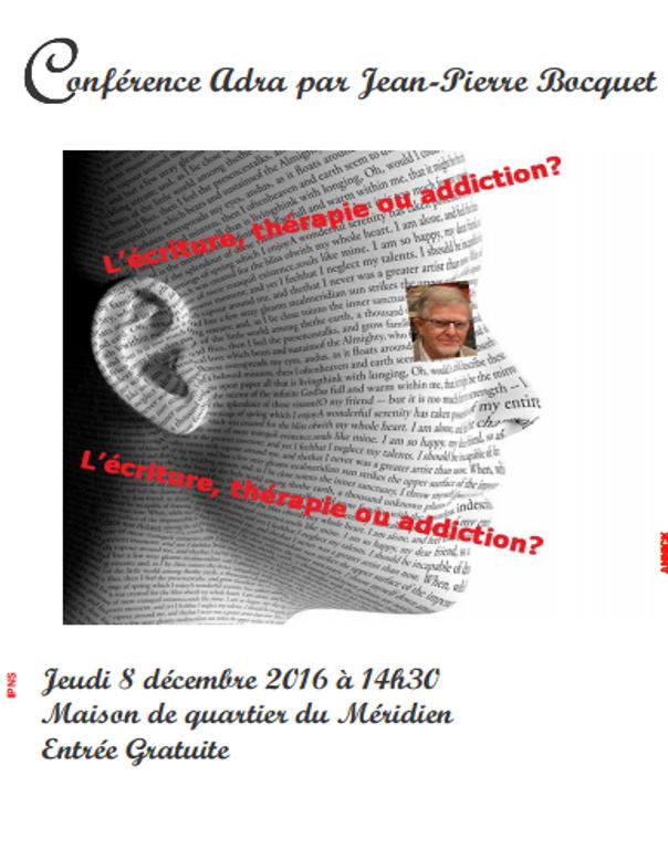 Conférence: L'écriture: thérapie ou addiction?