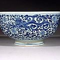 Blue & white water dragon bowl, 清代 qing dynasty, 康熙 kangxi period (1662-1722)