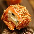 Petites bouchées de saumon aux graines de sésame - menu de noël - apéritif fin