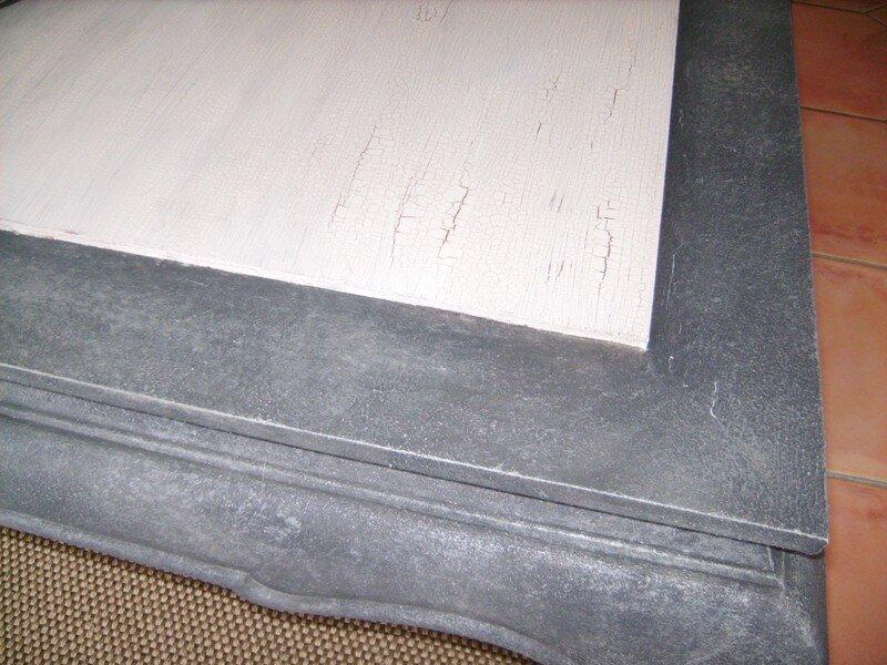 Table opium revisitee le scrap de mary for Peinture liberon effet metal caen