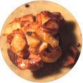 Croustillants de pommes de terre à la langoustine rôtie