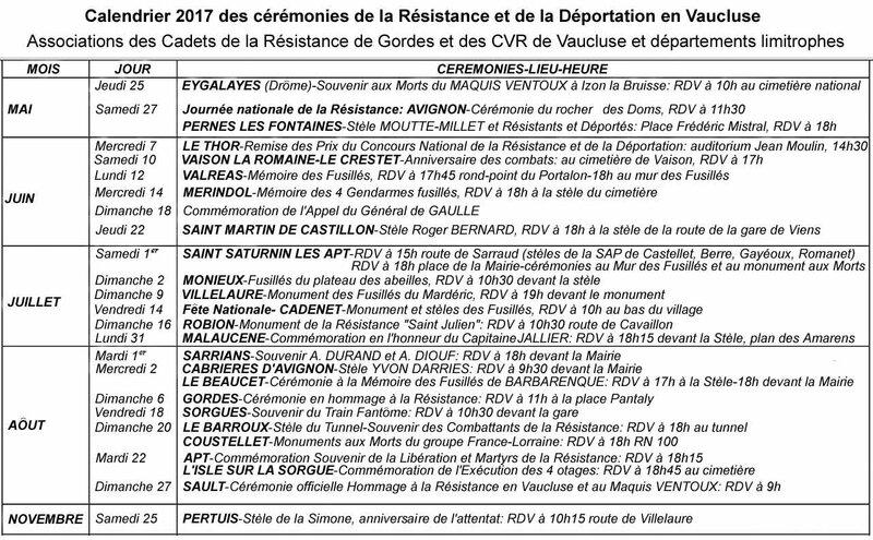 Calendrier des cérémonies 2017 Vaucluse