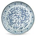 A massive blue and white 'dragon' dish, jiajing mark and period (1522-1566)