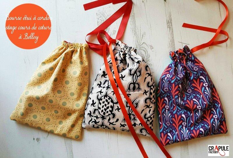 Création bourse etui doublé stage couture vacances à Belley chez CrApule FActOry