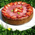 Cheesecake aux fraises...doux...crémeux...!
