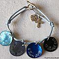 Bracelet pour une Profession de Foi sur lien de coton bleu