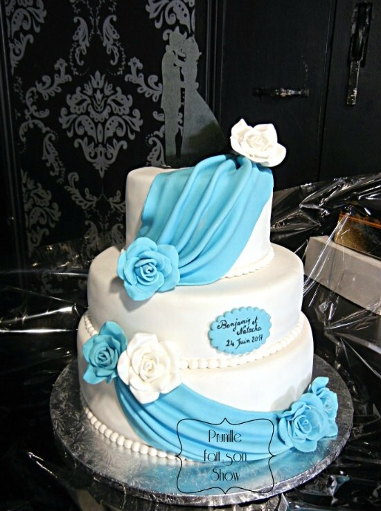 wedding cake drapé bleu prunillefee 2