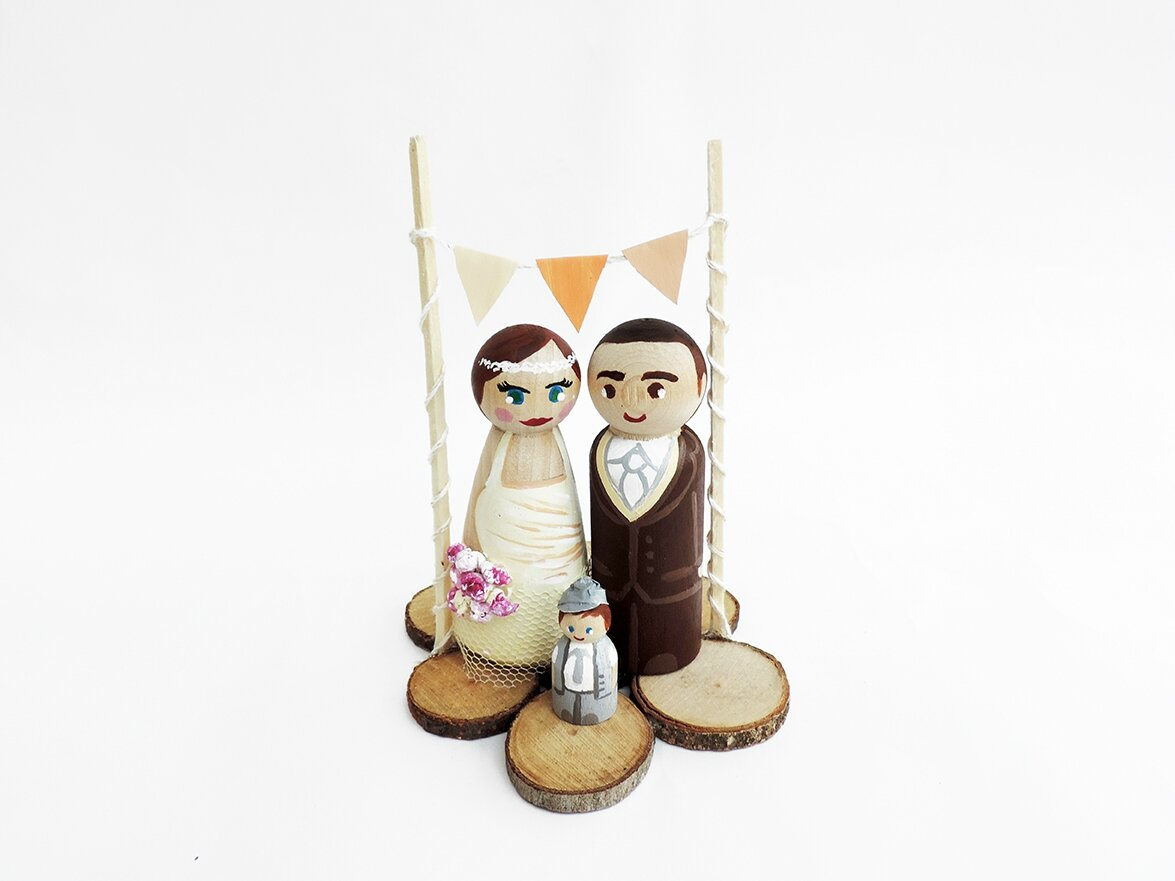 Cake toppers nature et bois mariage