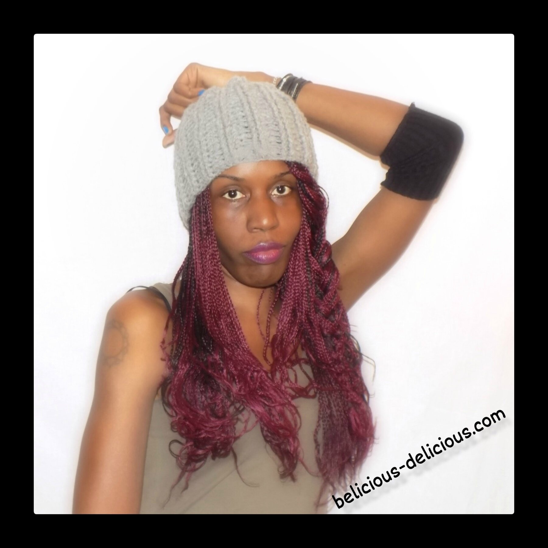 woolly hat grey handmade crochet belicious-delicious-creation