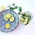 Détox water : citron, menthe et concombre