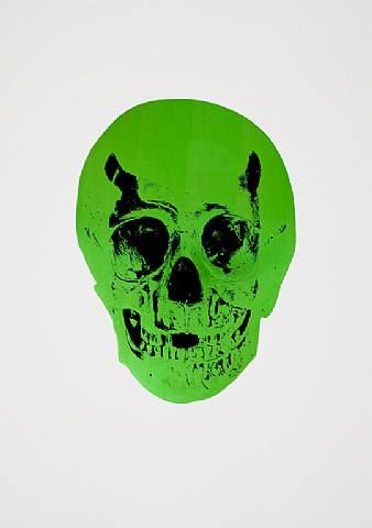 Damien Hirst, The Dead Lime Green Raven Black Skull, 2009
