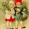 JOYEUX NOEL enfants avec la couronne de houx