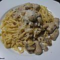 Linguine aux boudins blancs et champignons