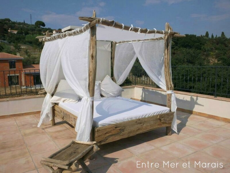 lit de jardin bois flotte 2a. Black Bedroom Furniture Sets. Home Design Ideas