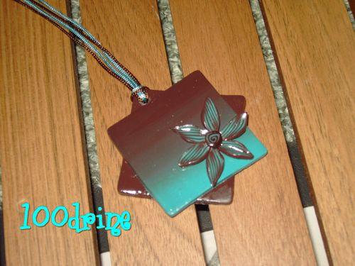 Dégradé fleuri marron/turquoise