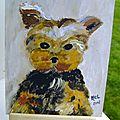 Acrylique sur bois le yorshire - acrylic on wood - the dog - available to sale . visitez le site http://lodya.artgallery.free.fr