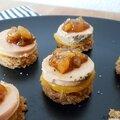 Bouchées apéritives pain d'épices maison, foie gras lartigue et fils, mangue fraîche et compotée de mangue maison