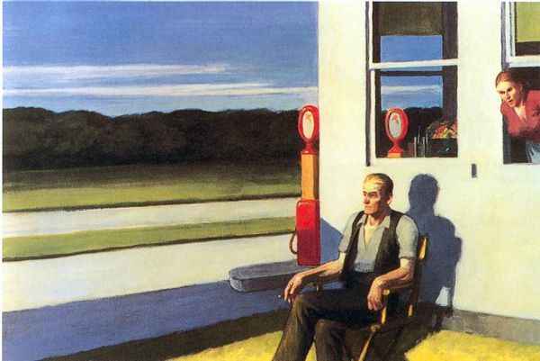 Edward Hopper Four Lane Road routeaquatrevoies 1956