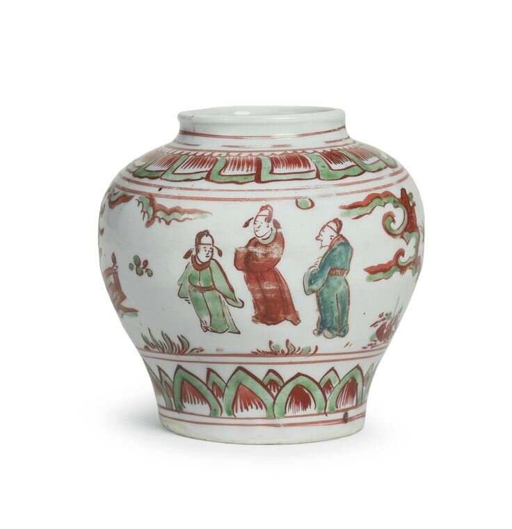 A small polychrome ovoid jar, Late Ming dynasty, 16th-17th century