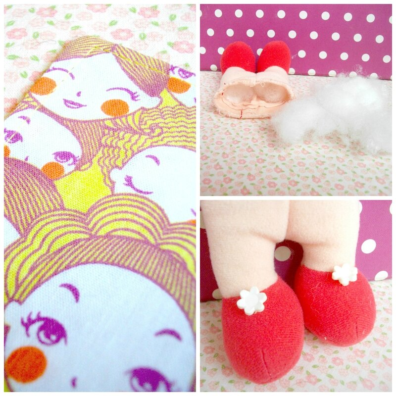 diy-marque-pages-couture-tissu-kawaii-têtes-poupées-bouton-fleur-chaussure-recyclage-upcycling