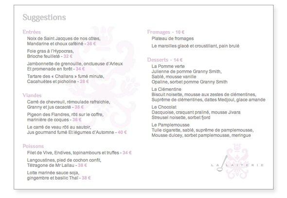 La laiterie carte 00 restaurant gastronomique 1 etoile